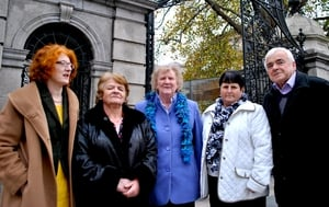 SOS Spokesperson Marie O'Connor with symphysiotomy survivors Vera McCardle, Ellen Moore and Marie and Billy Crean outside Leinster House