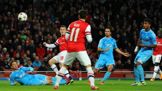 Jack Wilshere scored for Arsenal in the first minute at the Emirates