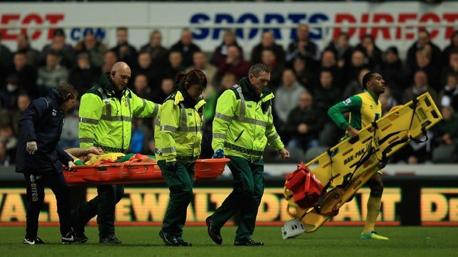 Anthony Pilkington was stretchered off in Newcastle