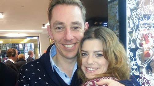 Ryan Tubridy and Love/Hate's Aoibhinn McGinnity in Brown Thomas for Operation Santa