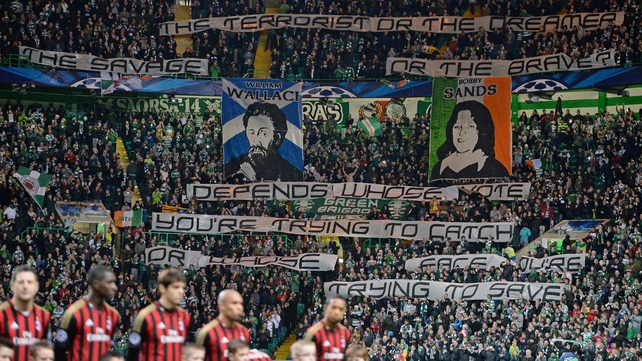 UEFA rules prohibit messages of a political and ideological nature being displayed in a stadium