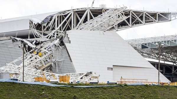 Part of a grandstand collapsed at Itaquerao Stadium in Sao Paulo