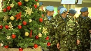 Irish troops returning to Dublin from Lebanon last month beat the Christmas rush