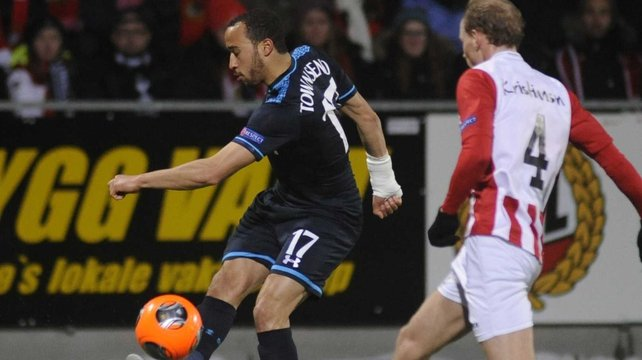 Tromso's Ruben Kristiansen (R) in duel with Tottenham's Andros Townsend