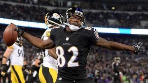 Torrey Smith celebrates his first quarter touchdown for Baltimore Ravens