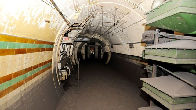 The view inside the former Brompton Road tube station, a disused station on the Piccadilly line