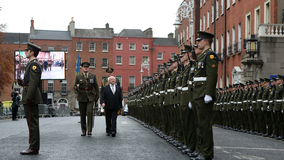 President Michael D Higgins views the honour guard at an event to mark the founding of the Irish Volunteers in 1913 (Pic: Sam Boal/Photocall)