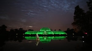 The Palm House is bathed in green light at The Royal Botanic Gardens in London