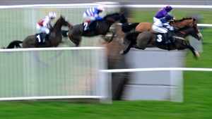 Horses clear the water jump during The Burges Salmon Amateur Riders' Handicap Steeple Chase at Newbury racecourse