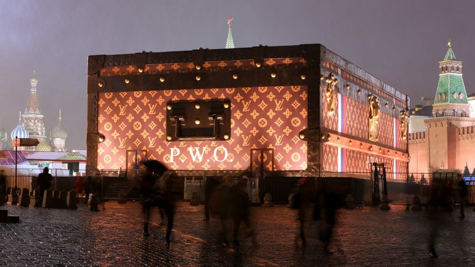 A giant suitcase-shaped pavilion in Moscow's Red Square was met with disapproval from locals