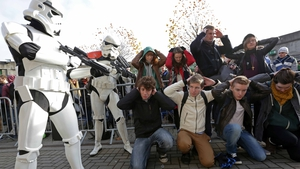 Storm Troopers keep an eye on the crowd as members of the public queue for open auditions for the next Star Wars film at Croke Park (Pic: Laura Hutton/Photocall)