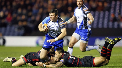 Robbie Henshaw is tackled by Edinburgh's Ben Atiga and Greig Tonks