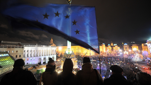 Violence broke out after large crowds again demonstrated against  Ukraine's decision not to sign pact with EU