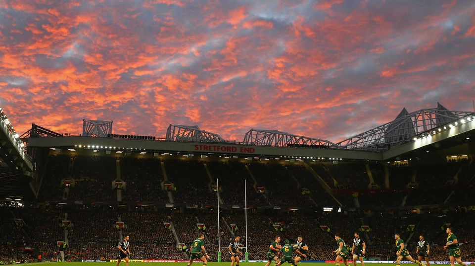 A grim-looking sky loomed over Old Trafford as Australia beat New Zealand in the Rugby League World Cup final