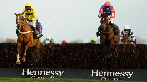 Triolo D'Alene (yellow silks) scored his biggest previous success in last season's Topham Chase at Aintree