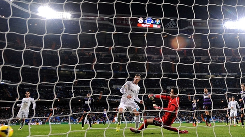 Bale scored with a header and with both feet to net a perfect hat-trick