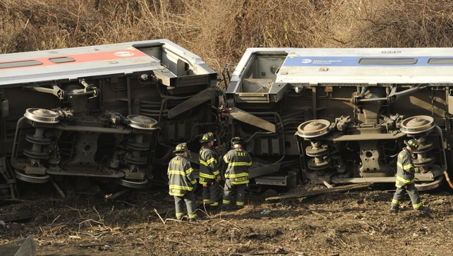 The train derailed on a large curved section of track at 7.20am (12.20pm Irish time) in New York about 100 meters north of the station.