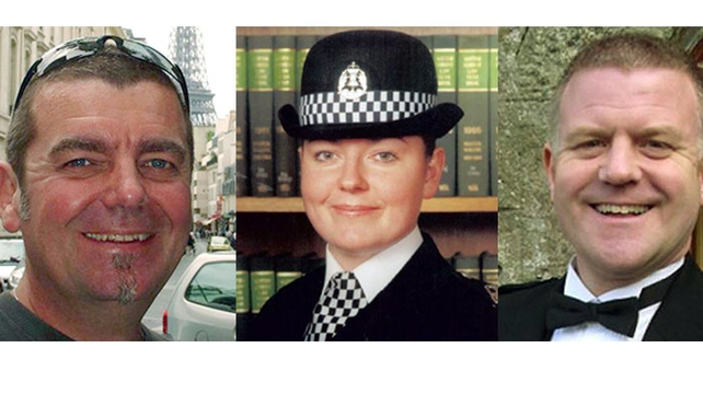 (L-R) Pilot David Traill and police officers Kirsty Nelis and Tony Collins  were in the helicopter when it crashed
