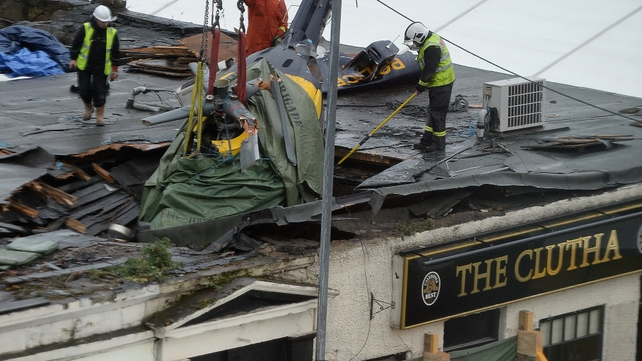 The helicopter crashed through the roof of the pub on Friday night