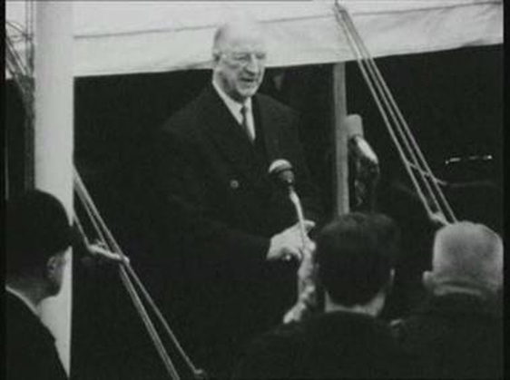 President de Valera turns the sod on the new Trinity library, 1963.