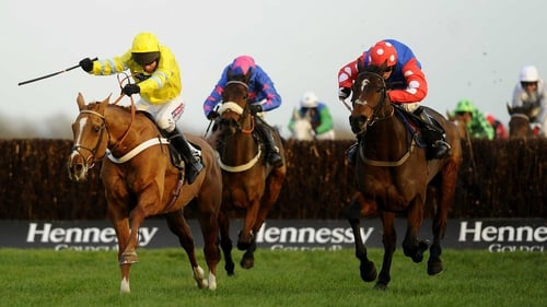 Rocky Creek (r) chases home Triolo D'Alene (l) in the Hennessy Gold Cup