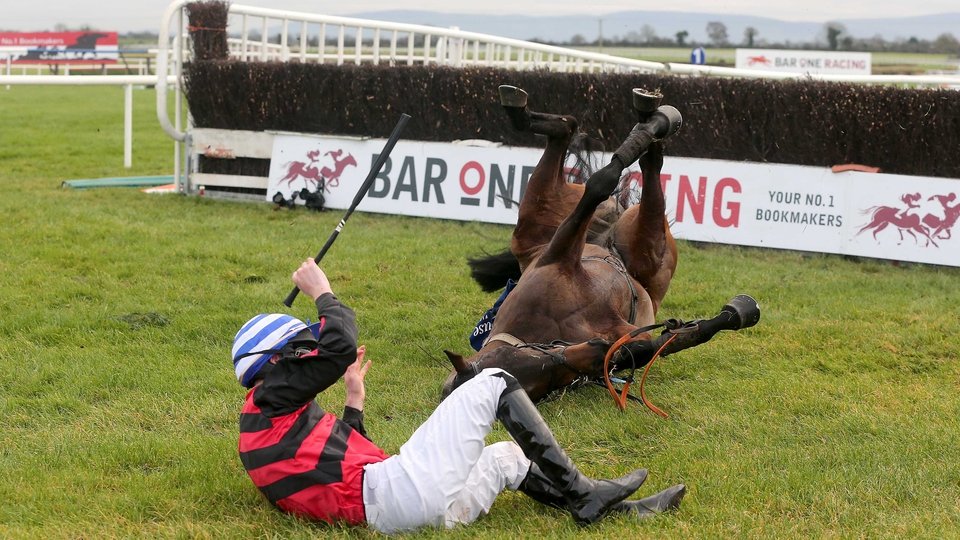 David Splaine falls from Liz's d'Estruval at Fairyhouse