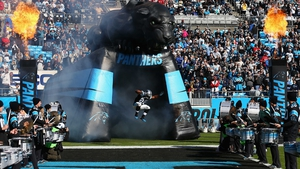Jonathan Stewart of the Carolina Panthers is introduced before their game against the Tampa Bay Buccaneers