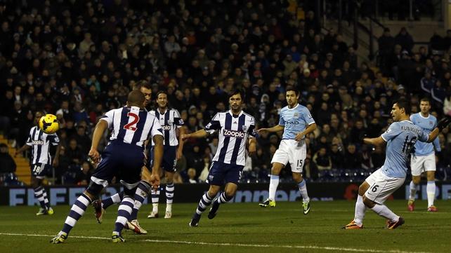Sergio Aguero scores City's opener
