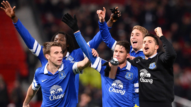 Everton's players, including Republic of Ireland international Seamus Coleman, celebrating their win in Old Trafford