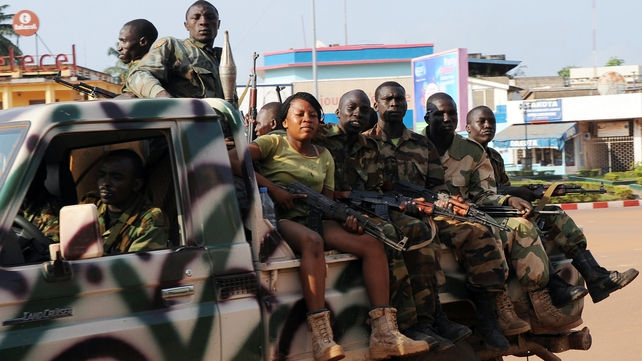Soldiers patrol in the CAR capital Bangui on day of violence in which over 100 died