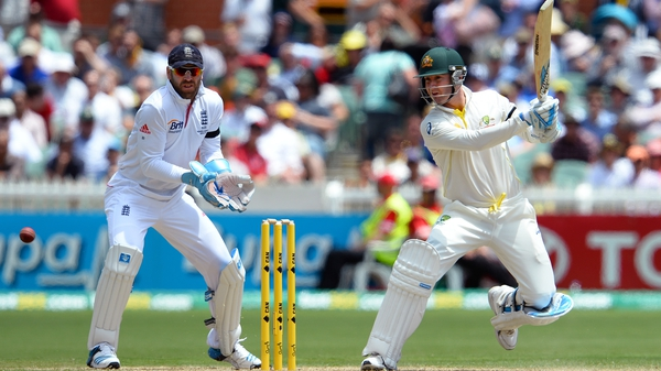 Michael Clarke cuts a ball away en route to his 148