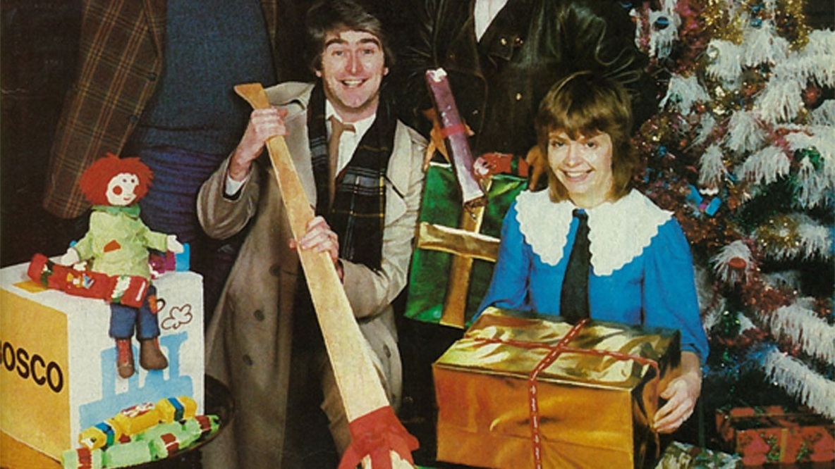 Bosco, Dermot Morgan and Ruth Buchanan, RTÉ Guide Christmas Cover, 16 December 1983