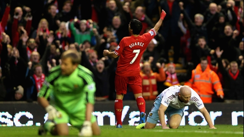 Luis Suarez's shot led to Liverpool's opener