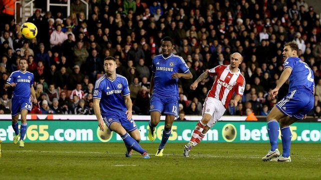 Stephen Ireland in action for Stoke against Chelsea
