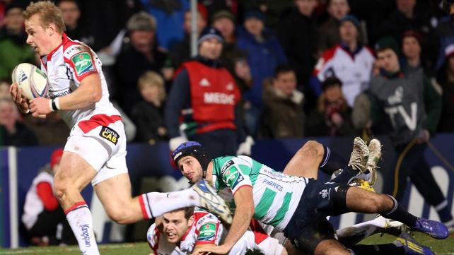 Ulster's Luke Marshall scored two tries