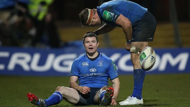 Brian O'Driscoll congratulated by Jamie Heaslip