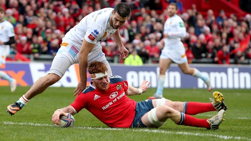 Munster's Sean Dougall scores the opening try at Thomond Park