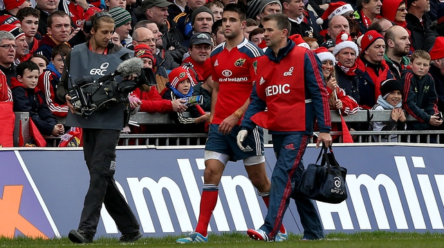 Conor Murray leaves the field injured and is a serious doubt for next weekend