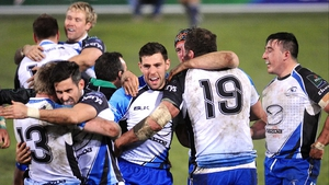 Connacht players celebrate at the final whistle