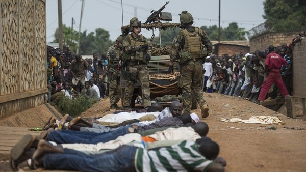 French soldiers arrest ex-seleka rebels after finding weapons in a house in Combattant neighborhood near Bangui's airport
