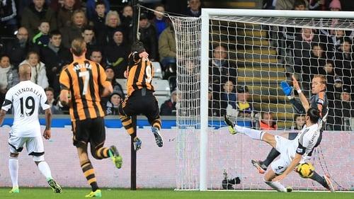 Danny Graham (no. 9) gives Hull the lead