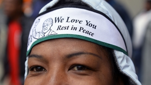 Mourners celebrated the life of the former South African president