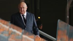 Former South African President FW de Klerk arrives for the official memorial service