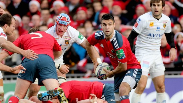Conor Murray is battling to be fit for Munster's Heineken Cup clash against Perpignan at Stade Aime Giral next Saturday