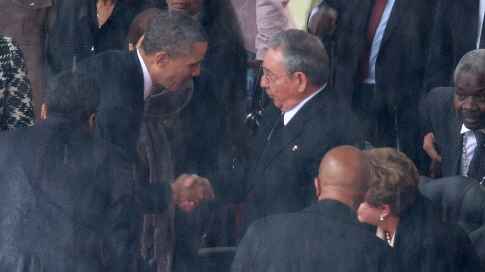 In an unprecidented move during the ceremony, President Barack Obama shook the hand of Cuban president, Raul Castro