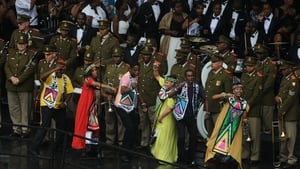 Dancers perform at the service