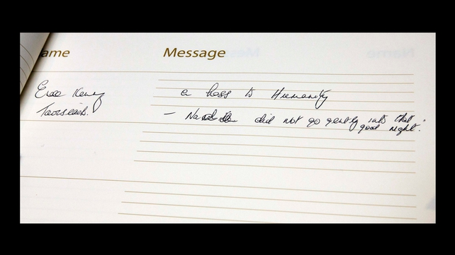 The Taoiseach's message in the book of condolence