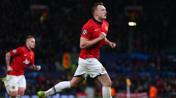 Phil Jones celebrates his strike as United win at Old Trafford