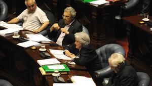 Uruguayan Senator Lucia Topolansky (C) votes to approve a law legalising marijuana trade