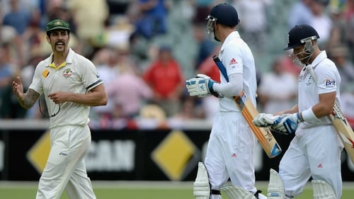 England lost two late wickets as Australia lead by 205 runs in Perth
